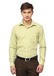 Copperline Lemon Green Striped Slimfit Fullsleeves Cotton Formal Shirts