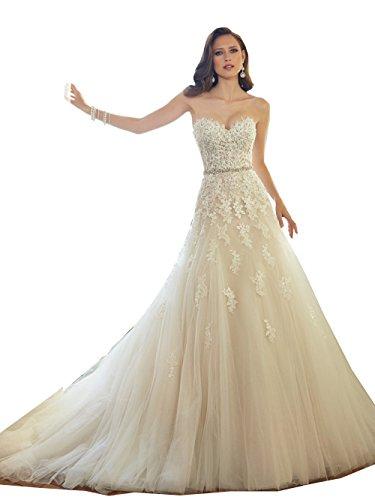32d666077ea Meledy Women s Sweetheart Neckline Sleeveless Court Train Floor Length  Church Bridal Wedding Gown Light Champagne US4