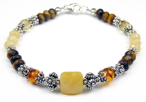 Damali -Personal Growth Gemstone Bracelet in Sterling Silver - Medium 7.5 Inches