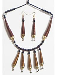 Copper Wire With Black Cord Necklace And Earrings - Copper Wire - B00K4F4UES