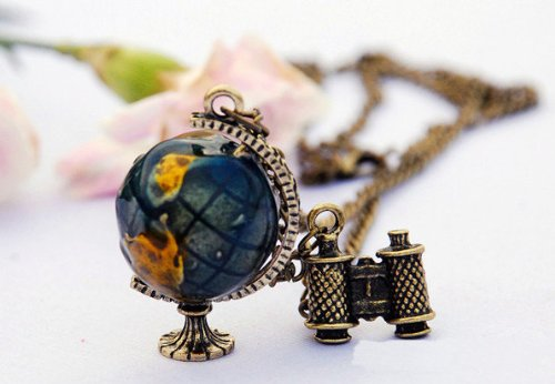 3D Blue World Globe And Telescope Pendant Necklace,Ready For A Trip Or Adventure