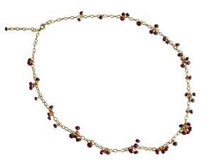 Rubin Halskette Gold Collier gold 585 filled Rubin Anhänger HANJA Kette