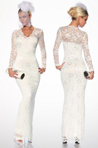 Langes Abendkleid Cocktailkleid Hochzeitskleid mit Spitze in weiß Gr. S-L