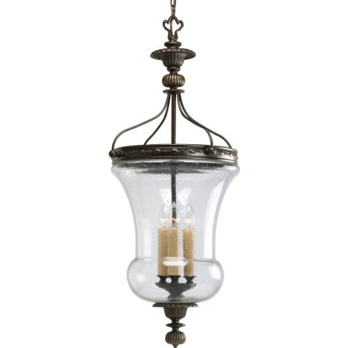 Progress Lighting P2879-77 3-Light Fiorentino Foyer, Forged Bronze