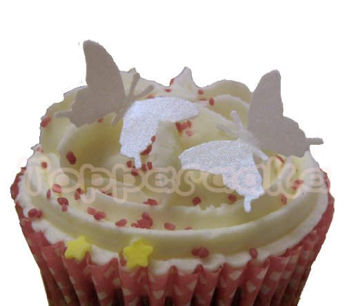 Mini 20mm Pearlescent White Edible Rice Paper Butterfly Cupcake Wedding Cake Decoration x 24