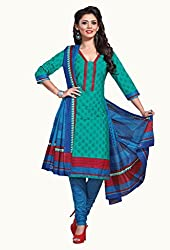 HIFI Ethnicwear Women's Dress Material(HIFI 3319_Turquoise_Free Size)