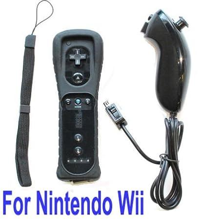 Black Remote & Nunchuck Controller + Wrist Strap + Silicone Case for Nintendo Wii