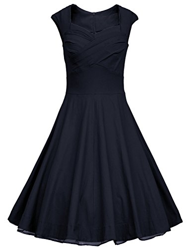 Women 1950s Vintage Retro Capshoulder Party Swing Dress