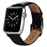 Apple Watch Strap, Pasonomi Premium Genuine Leather Replacement Watchband with Secure Metal Clasp, Apple Watch Band Crocodile Leather Strap Wrist Band Classic Buckle for Apple Watch & Sport & Edition (Leather Black - 42mm)