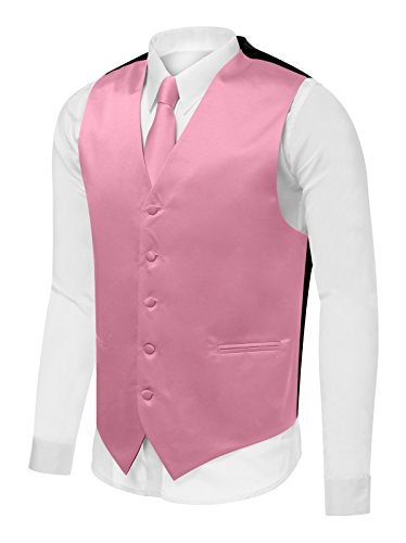 [Azzurro Men's Dress Vest Set Neck Tie, Hanky for Suit or Tuxedo, Pink, XXL] (Pink Man Suit)