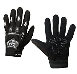 Delhi Traderss Dlt 1 Pair Of Bike Gloves Hand Grip for/Motorcycle/Scooter Riding Gloves - Black