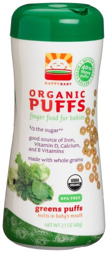 HAPPYBABY Organic Puffs, Greens Puffs, 2.1-Ounce Containers (Pack of 6)