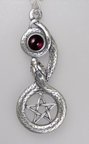 Sterling Silver Pentacle and Snake Accented With a Genuine Garnet