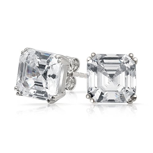 Bling Jewelry Mens CZ Square Asscher Cut Stud Earrings 925 Sterling Silver 5mm