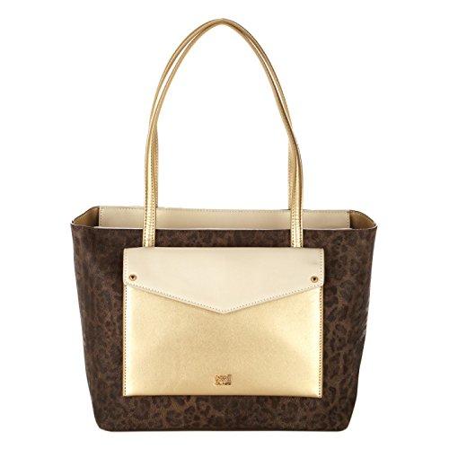 CAVALLI CLASS Borsa shopping piccola con tasca GOLD/OFFWHITE