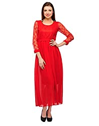 NIROSHA Net Embroidered Dress for Women -DRS1025_Red_XL