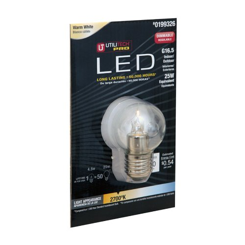 Utilitech Pro 4.5-Watt (25W) 199326 Warm White (2700K) Decorative Led Bulb