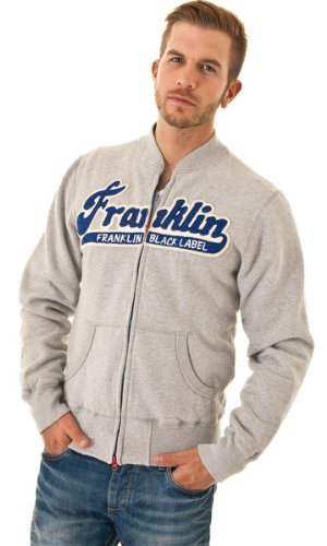 Franklin Marshall Mens Grey Marl Branded Zipped Sweatshirt Jumper Top