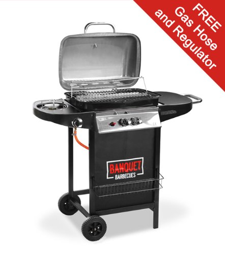 Banquet 2 Burner Gas Barbecue with Side Burner