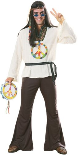 Mens Disco Costume Outfit Peace Hippie 60s 70s