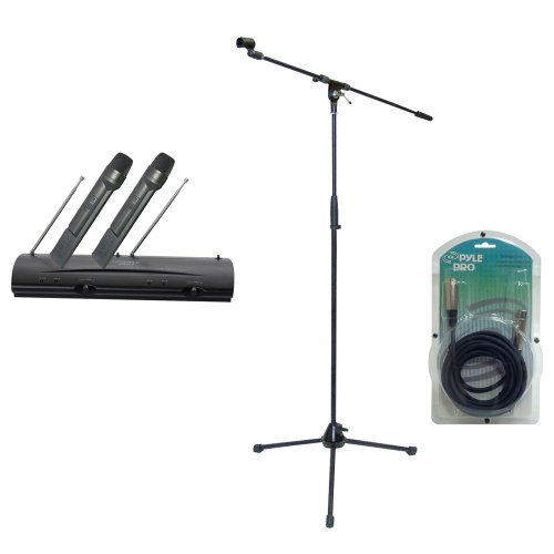 Pyle Mic And Stand Package - Pdwm2100 Professional Dual Vhf Wireless Handheld Microphone System - Pmks2 Tripod Microphone Stand W/Boom - Ppfmxlr15 15Ft. Xlr Male To Xlr Female Microphone Cable