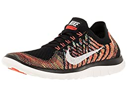 Nike Women\'s Free 4.0 Flyknit Black/Sl/Hypr Orng/Unvrsty Bl Running Shoe 9.5 Women US