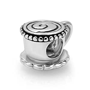 925 sterling silver coffee tea cup bead charm