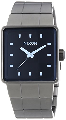 Nixon Herren-Armbanduhr Quatro Gunmetal Blue Crystal Analog Quarz Edelstahl A0131427-00