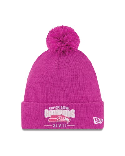 NFL Seattle Seahawks Super Bowl Champions Pink Pom Knit Cap at Amazon.com