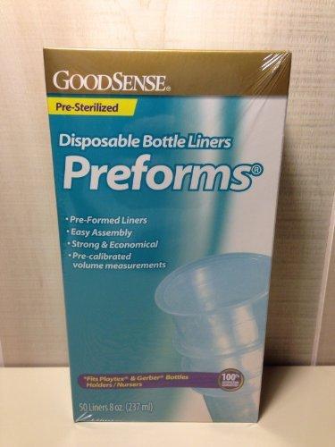 GOOD SENSE PREFORMS BABY BOTTLE DISPOSABLE LINERS 50/BOX 8oz STERILIZED - 1