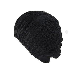 Viskey Winter Woman Knit Beret Crochet Beanie Hat Cap Plain Color,Black