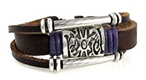 Purple Medallion Leather Zen Bracelet, Fits 6 to 8 Inch Wrists, for Men, Women, Teens, Girls and Boys in Gift Box