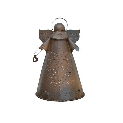 CWI Gifts Rusty Angel Candle Holder, 8.5-Inch