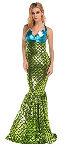 JustinCostume Adult Sexy Bodycon Fish Scale Mermaid Halter Dress Costumes