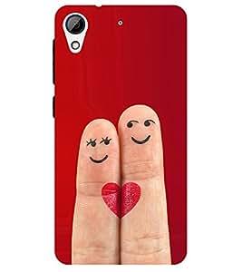 Chiraiyaa Designer Printed Premium Back Cover Case for HTC Desire 626 (boy girl friend valentine miss kiss finger heart smile) (Multicolor)