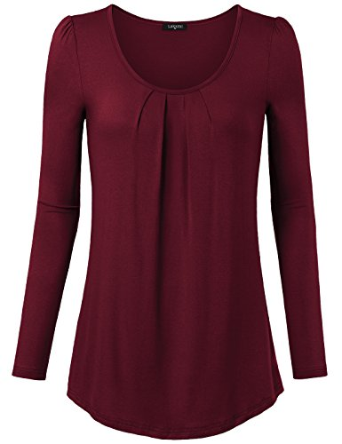 Casual Shirts For Women Long Sleeve, Laksmi Scoop Neck Ruched Top Blouse, XXL/Wine