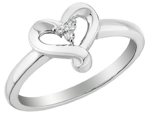 Diamond Heart Promise Ring in Sterling Silver, Size 5.5