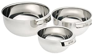 All-Clad MBSET Stainless Steel Dishwasher Safe Mixing Bowls Set of 3 Kitchen Accessorie ,... by All-Clad