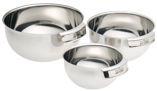 All-Clad MBSET Stainless Steel Dishwasher Safe Mixing Bowls / Set of 3 Kitchen Accessorie , Silver