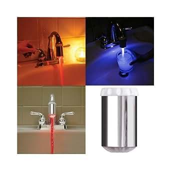 SODIAL(TM) Robinet/Tšºte d'injection/Swivel LED Couleur variable en fonction du changement de la tempšŠrature 3 couleurs LED