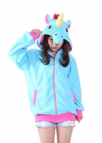 DELEY Adulto Unisex Animali Cartoon Manica Lunga Zip Up Sweatshirts Hoodie Felpe Tuta Coppia Con Cappuccio Unicorn Blu M