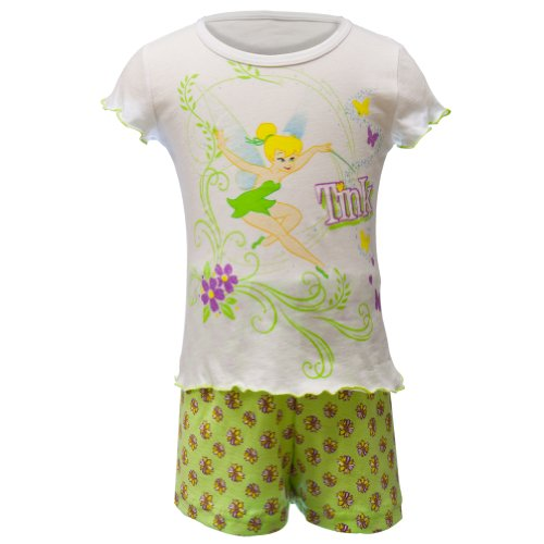 Tinkerbell - Girls Floral Butterfiles Toddler Shirt And Shorts Set 3T White front-1002925