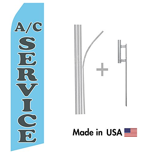 Air Conditioning Service Econo Flag | 16ft Aluminum Advertising Swooper Flag Kit with Hardware