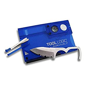 Tool Logic SVC1B Survival Card Tool With 1/2 Serrated Knife, Fire Starter, Whistle, Compass and Magnification Lens, Translucent Blue