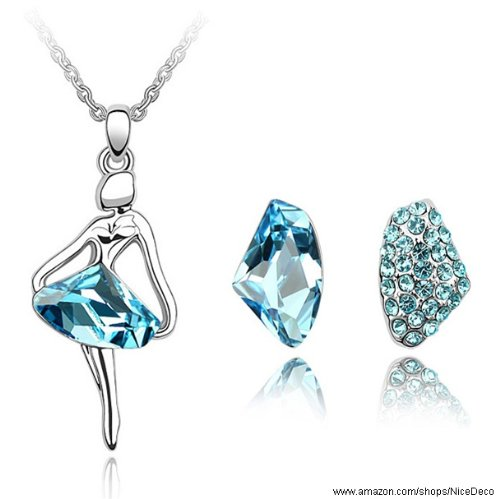 Nicedeco JE-SW-TZ086-seablue,Swarovski Elements Austrian Crystal Jewelry Sets,Dancing queen,Necklace And Earring(2-Piece Set),Elegant style and exquisite craftsmanship
