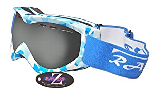 Rayzor Professional UV400 Double Lensed Ski / SnowBoard Goggles, With a Matt Blue Camouflage Frame with an Anti Fog Coated, Vented Smoked Anti-Glare Clarity Wide Vision Lens.