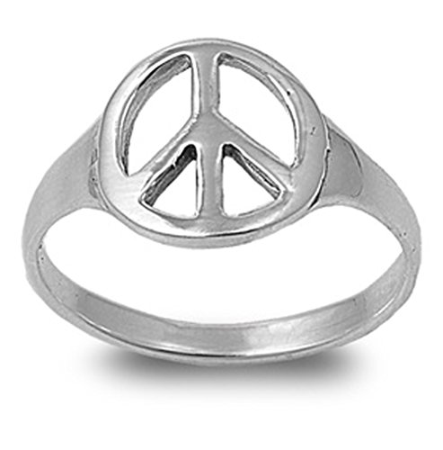 Sterling Silver Woman'S Peace Sign Ring Love Polished Comfort Fit 925 Band 12Mm Size 10 Valentines Day Gift