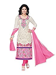 PShopee Off-White & Pink Cotton Embroidery Unstitched Karachi Dress Material