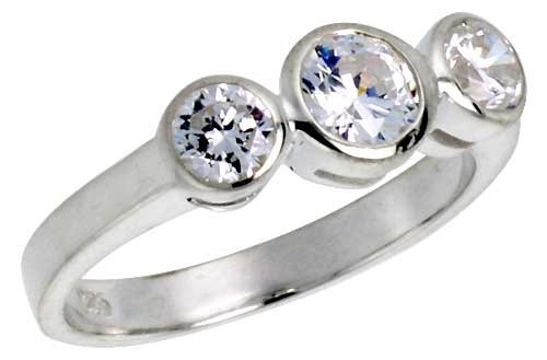 Sterling Silver .47 Carat Size Brilliant Cut Cubic Zirconia Bridal Ring (Available in Sizes 6 to 10) size 9