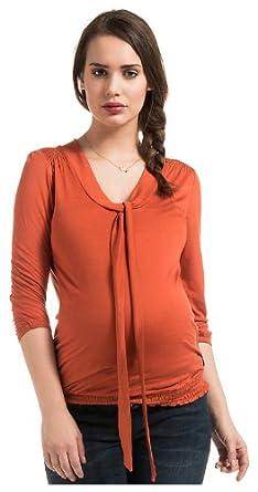 Noppies Damen Umstandsmode Shirt/ Top Comfort Fit 30551, Gr. 36 (S), Orange (orange 18)